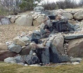 backyard custom fountain landscaping