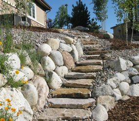 retaining wall and stairs custom landscaping