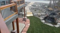 custom walkway and fountain landscaping contractor