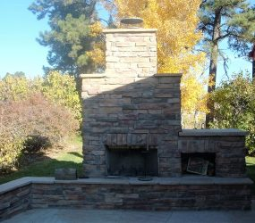 custom landscaping fireplace 3