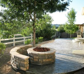 custom landscaping fire pit