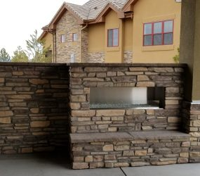 custom landscaping fireplace 2