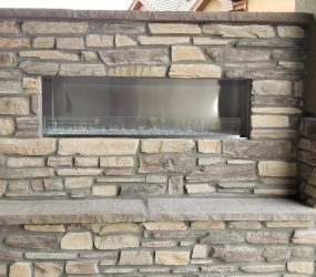 custom landscaping fireplace